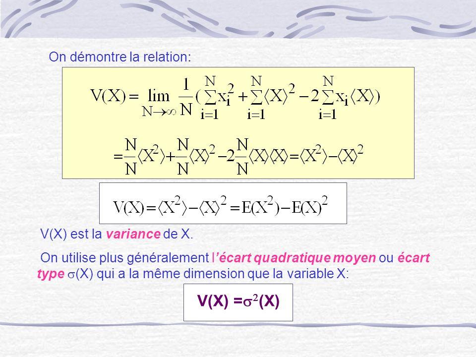 On démontre la relation : V(X) est la variance de X. On utilise plus généralement lécart quadratique moyen ou écart type (X) qui a la même dimension q