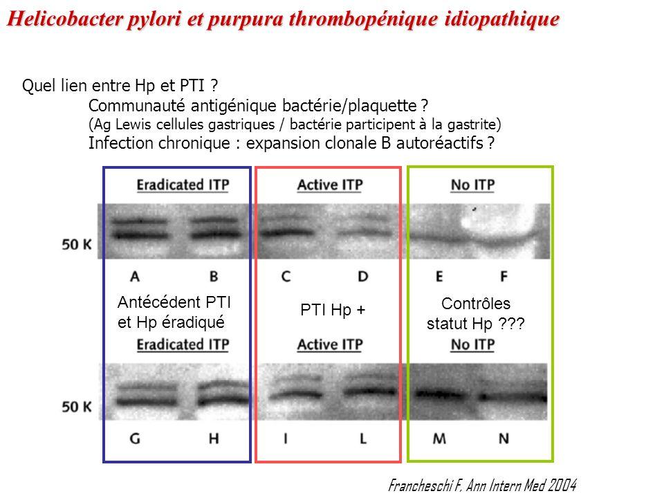 Quel lien entre Hp et PTI ? Communauté antigénique bactérie/plaquette ? (Ag Lewis cellules gastriques / bactérie participent à la gastrite) Infection