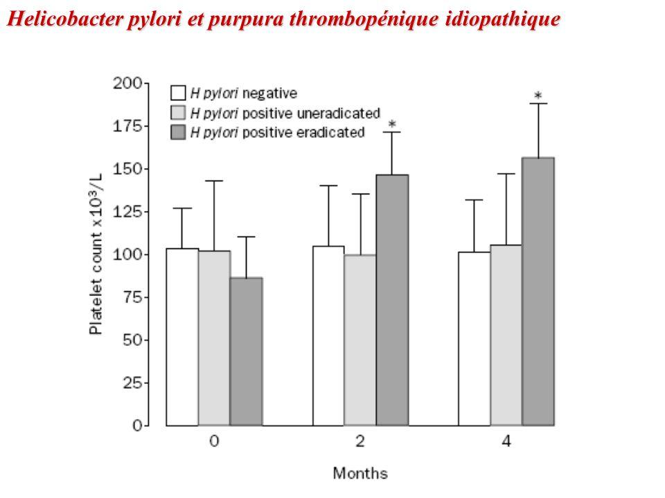 Helicobacter pylori et purpura thrombopénique idiopathique
