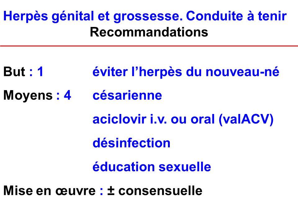 Herpès génital et grossesse. Conduite à tenir Recommandations But : 1éviter lherpès du nouveau-né Moyens : 4césarienne aciclovir i.v. ou oral (valACV)