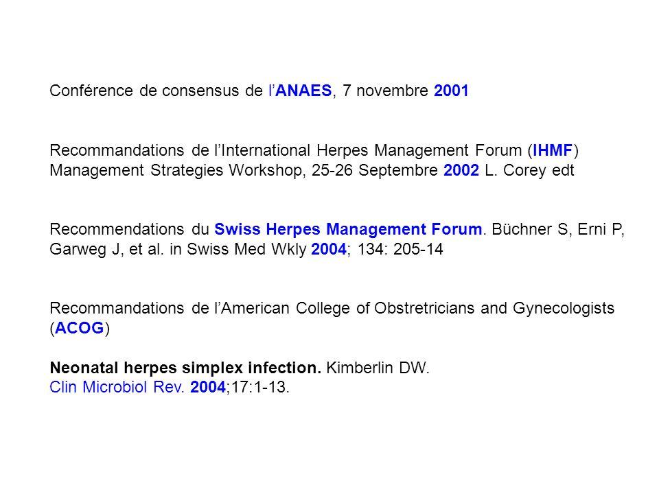 Conférence de consensus de lANAES, 7 novembre 2001 Recommandations de lInternational Herpes Management Forum (IHMF) Management Strategies Workshop, 25