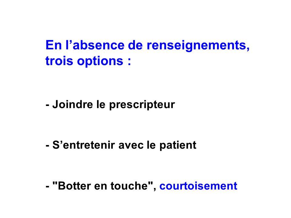 En labsence de renseignements, trois options : - Joindre le prescripteur - Sentretenir avec le patient -