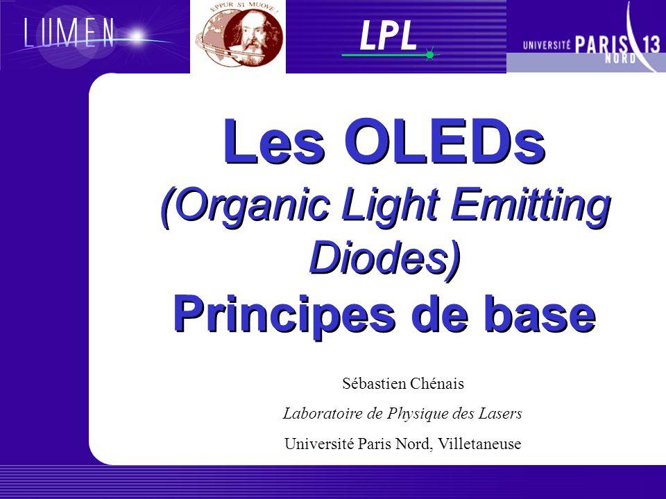 LPL Les OLEDs (Organic Light Emitting Diodes) Principes de base Sébastien Chénais Laboratoire de Physique des Lasers Université Paris Nord, Villetaneuse