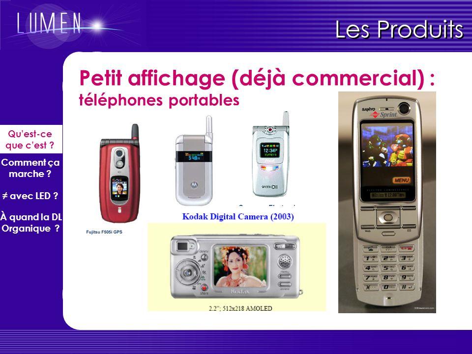 Petit affichage (déjà commercial) : téléphones portables Les Produits Quest-ce que cest .