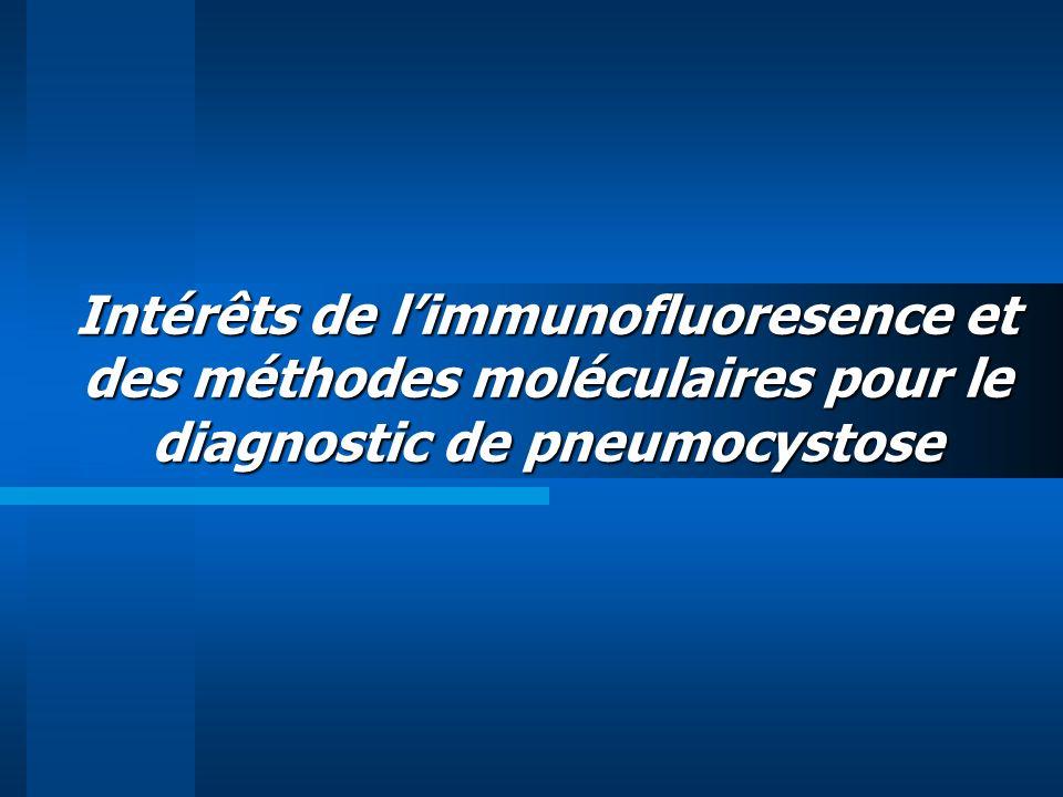 Brancart, J Microbiol Methods 2005 (abstract) 53 LBA Giemsa et IFD : 8+ PCR : 24+ Arcenas, Diag Microbiol Infect Dis (abstract) 2006 Gain de sensibilité de 21% Spécificité.