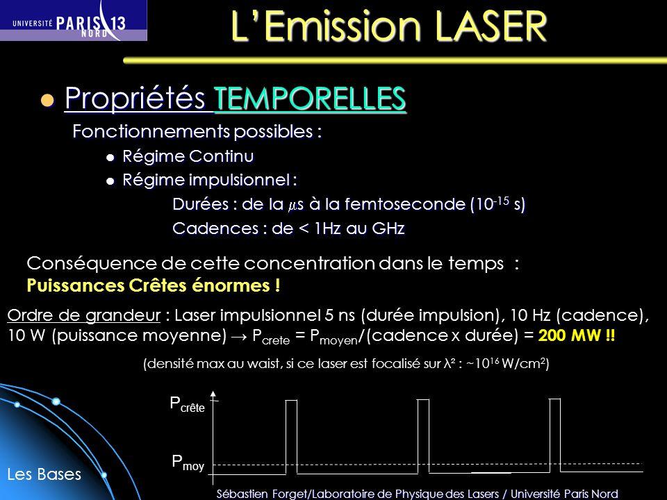 Sébastien Forget/Laboratoire de Physique des Lasers / Université Paris Nord LEmission LASER Propriétés TEMPORELLES Propriétés TEMPORELLES Fonctionnements possibles : Régime Continu Régime Continu Régime impulsionnel : Régime impulsionnel : Durées : de la s à la femtoseconde (10 -15 s) Cadences : de < 1Hz au GHz Conséquence de cette concentration dans le temps : Puissances Crêtes énormes .