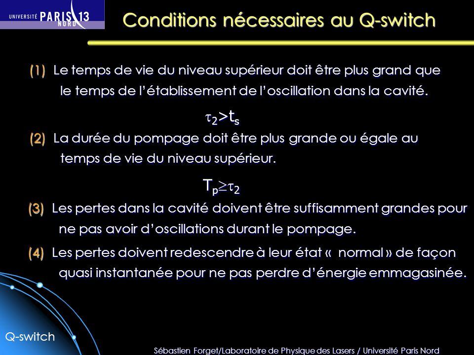 Sébastien Forget/Laboratoire de Physique des Lasers / Université Paris Nord Conditions nécessaires au Q-switch (1) Le temps de vie du niveau supérieur