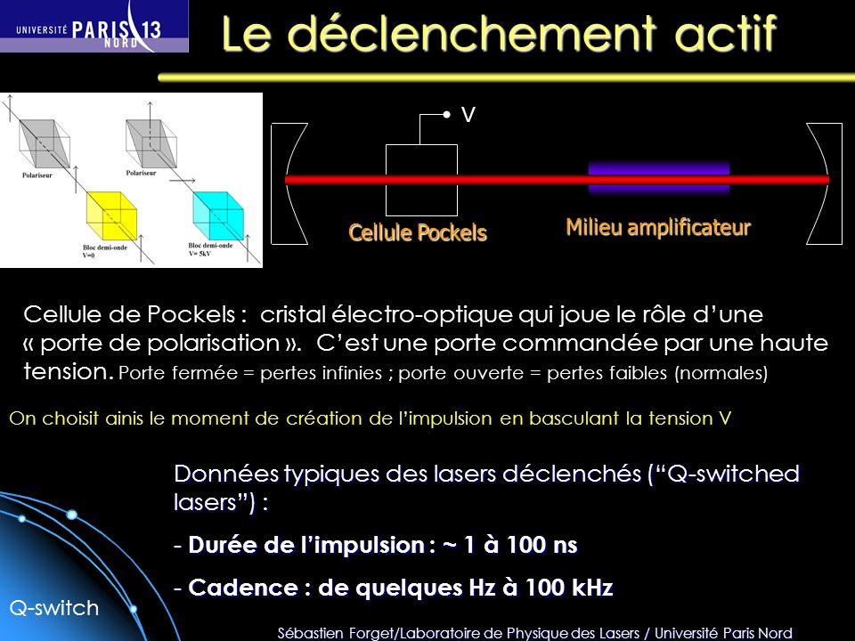 Sébastien Forget/Laboratoire de Physique des Lasers / Université Paris Nord Le déclenchement actif Milieu amplificateur Cellule de Pockels : cristal é