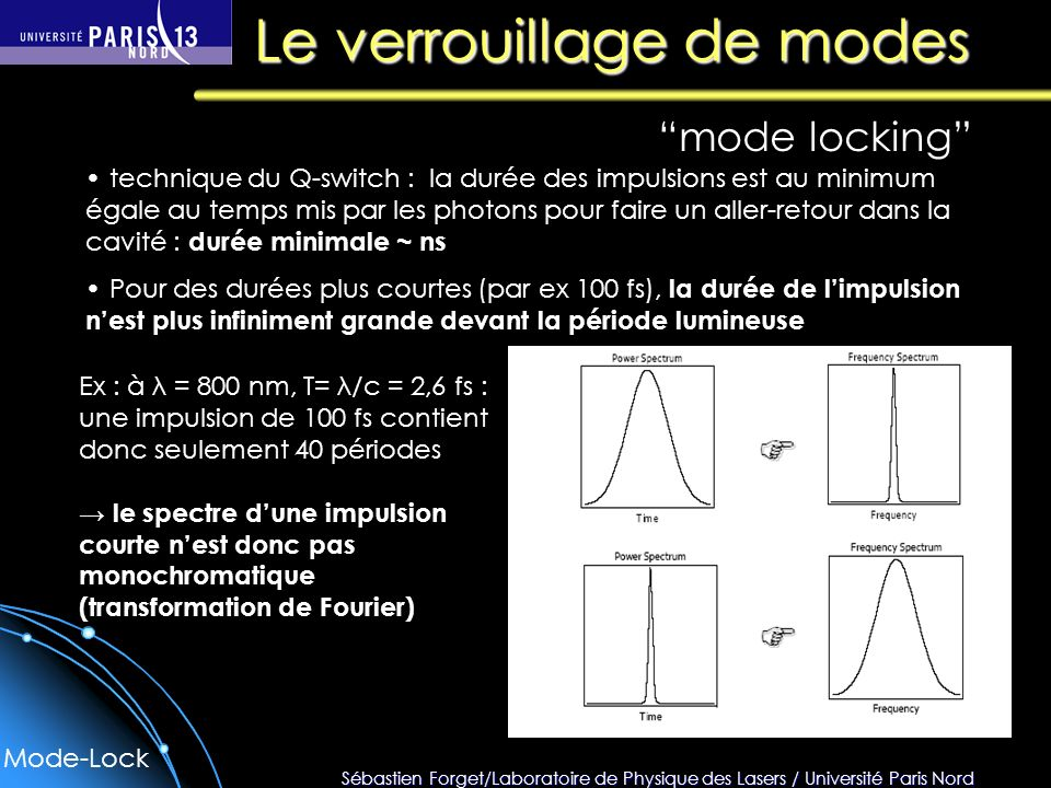 Sébastien Forget/Laboratoire de Physique des Lasers / Université Paris Nord Le verrouillage de modes mode locking technique du Q-switch : la durée des impulsions est au minimum égale au temps mis par les photons pour faire un aller-retour dans la cavité : durée minimale ~ ns Pour des durées plus courtes (par ex 100 fs), la durée de limpulsion nest plus infiniment grande devant la période lumineuse Ex : à λ = 800 nm, T= λ/c = 2,6 fs : une impulsion de 100 fs contient donc seulement 40 périodes le spectre dune impulsion courte nest donc pas monochromatique (transformation de Fourier) Mode-Lock