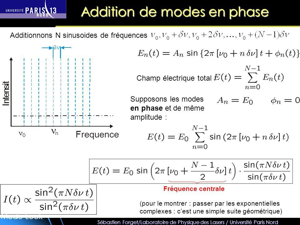 Sébastien Forget/Laboratoire de Physique des Lasers / Université Paris Nord Addition de modes en phase Frequence Champ électrique total : Supposons les modes en phase et de même amplitude : ν0ν0 Additionnons N sinusoides de fréquences (pour le montrer : passer par les exponentielles complexes : cest une simple suite géométrique) Fréquence centrale Mode-Lock