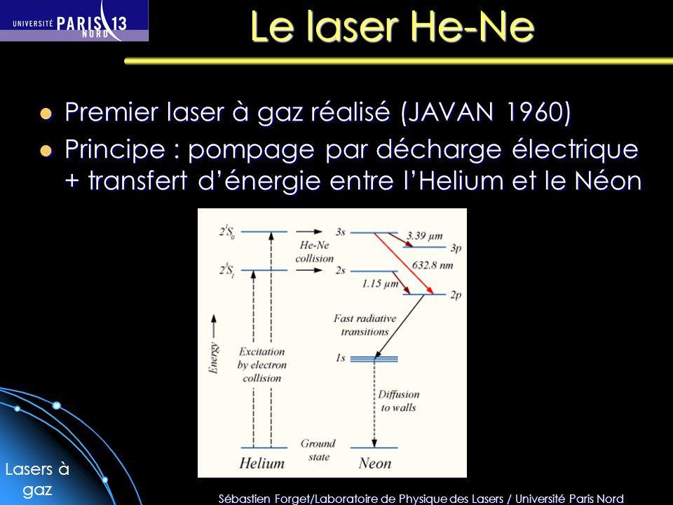 Sébastien Forget/Laboratoire de Physique des Lasers / Université Paris Nord Le laser He-Ne Premier laser à gaz réalisé (JAVAN 1960) Premier laser à ga