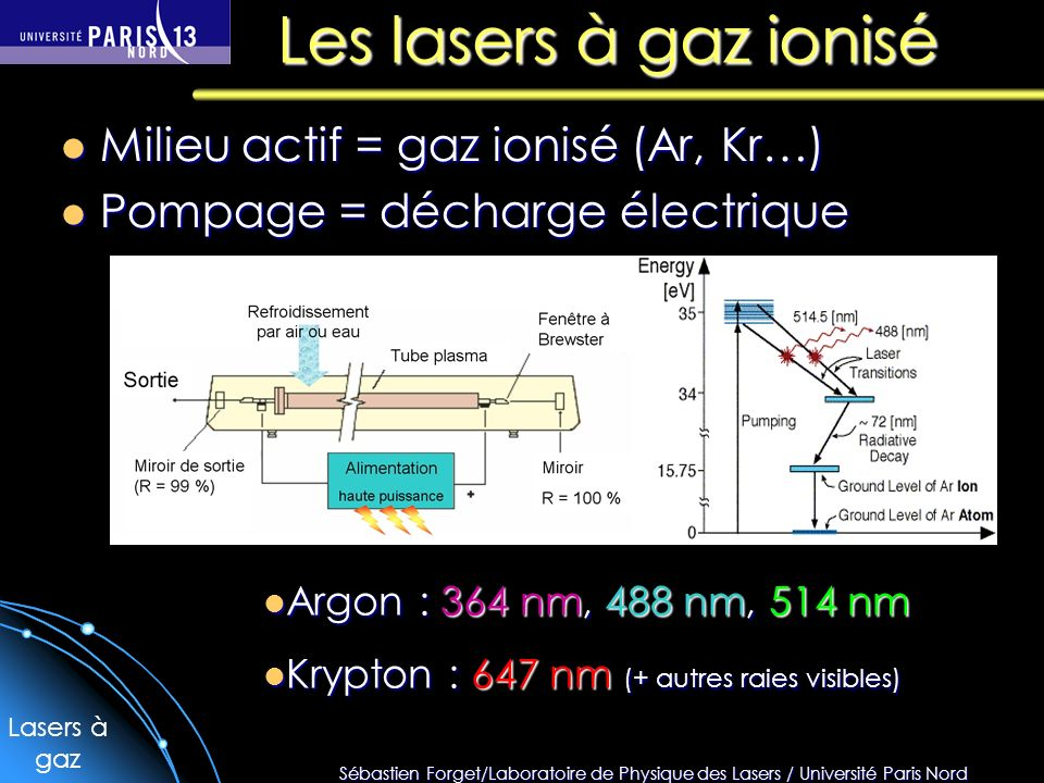 Sébastien Forget/Laboratoire de Physique des Lasers / Université Paris Nord Les lasers à gaz ionisé Milieu actif = gaz ionisé (Ar, Kr…) Milieu actif = gaz ionisé (Ar, Kr…) Pompage = décharge électrique Pompage = décharge électrique Argon : 364 nm, 488 nm, 514 nm Argon : 364 nm, 488 nm, 514 nm Krypton : 647 nm (+ autres raies visibles) Krypton : 647 nm (+ autres raies visibles) Lasers à gaz