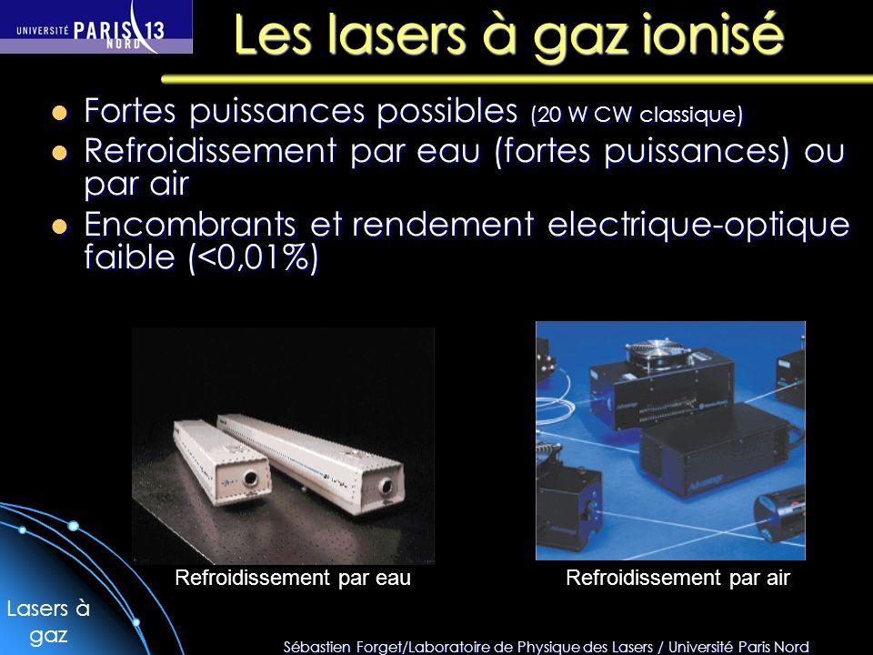 Sébastien Forget/Laboratoire de Physique des Lasers / Université Paris Nord Les lasers à gaz ionisé Fortes puissances possibles (20 W CW classique) Fo