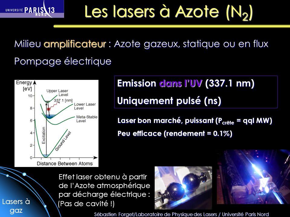 Sébastien Forget/Laboratoire de Physique des Lasers / Université Paris Nord Les lasers à Azote (N 2 ) Lasers à gaz Milieu amplificateur : Azote gazeux