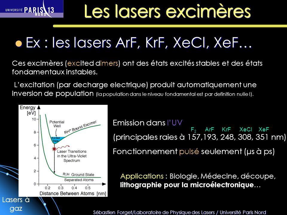 Sébastien Forget/Laboratoire de Physique des Lasers / Université Paris Nord Les lasers excimères Ex : les lasers ArF, KrF, XeCl, XeF… Ex : les lasers