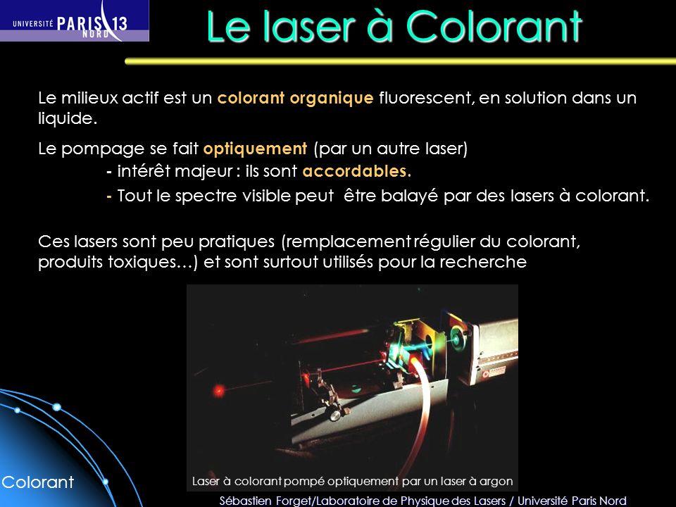 Sébastien Forget/Laboratoire de Physique des Lasers / Université Paris Nord Le laser à Colorant Le milieux actif est un colorant organique fluorescent, en solution dans un liquide.