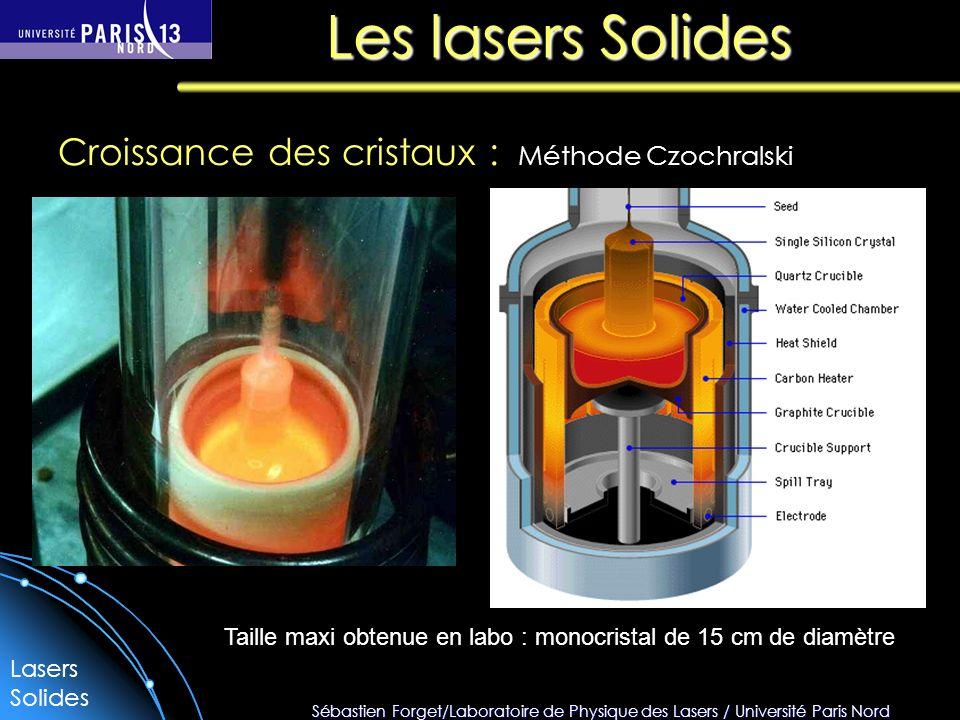 Sébastien Forget/Laboratoire de Physique des Lasers / Université Paris Nord Les lasers Solides Méthode Czochralski Croissance des cristaux : Lasers Solides Taille maxi obtenue en labo : monocristal de 15 cm de diamètre