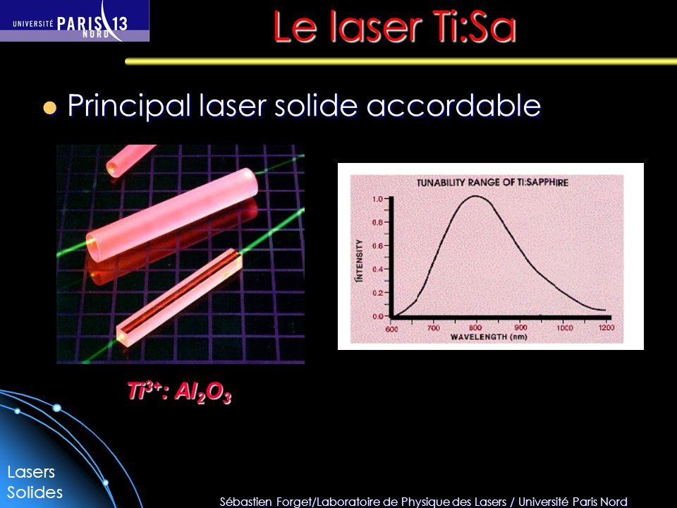 Sébastien Forget/Laboratoire de Physique des Lasers / Université Paris Nord Le laser Ti:Sa Principal laser solide accordable Principal laser solide accordable Ti 3+ : Al 2 O 3 Lasers Solides