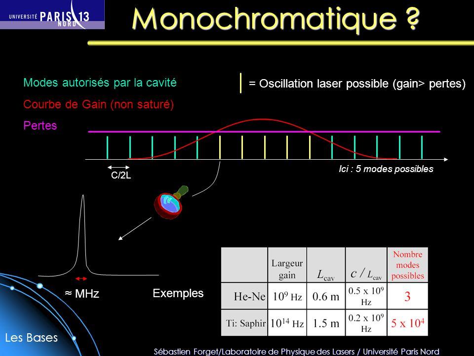 Sébastien Forget/Laboratoire de Physique des Lasers / Université Paris Nord Verrouillage de modes Résumé : C/2L fréquence Pour faire des impulsions courtes il faut : - Beaucoup de modes (N grand) : matériau laser avec une large bande damplification (Titane-saphir, colorant, erbium…) - la durée des impulsions ne dépend que de la largeur de la courbe de gain si tous les modes sont en phase : t = 1/Δν - ex : t (Nd:YAG) 10 ps ; t (Ti:Sa) 10 fs - - la cadence ne dépend que de la longueur de la cavité f = c/2L ΔνΔν Mode-Lock