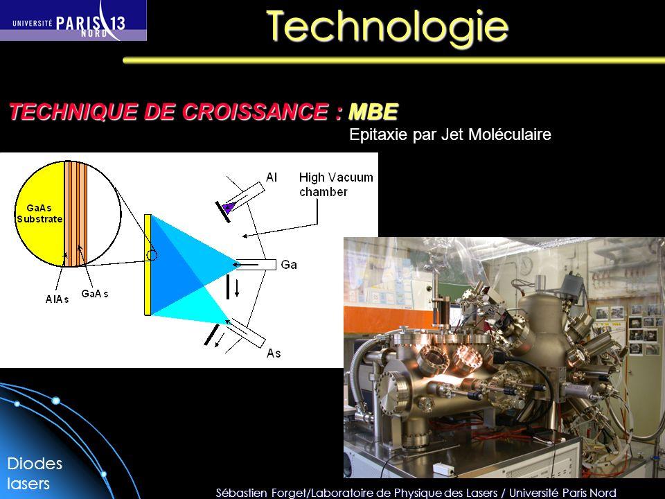 Sébastien Forget/Laboratoire de Physique des Lasers / Université Paris Nord Technologie TECHNIQUE DE CROISSANCE : MBE Epitaxie par Jet Moléculaire Diodes lasers