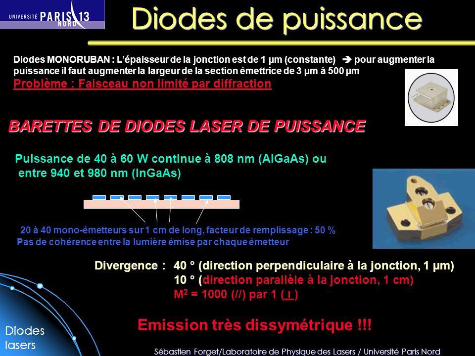 Sébastien Forget/Laboratoire de Physique des Lasers / Université Paris Nord Diodes de puissance Diodes MONORUBAN : Lépaisseur de la jonction est de 1 µm (constante) pour augmenter la puissance il faut augmenter la largeur de la section émettrice de 3 µm à 500 µm Problème : Faisceau non limité par diffraction BARETTES DE DIODES LASER DE PUISSANCE 20 à 40 mono-émetteurs sur 1 cm de long, facteur de remplissage : 50 % Puissance de 40 à 60 W continue à 808 nm (AlGaAs) ou entre 940 et 980 nm (InGaAs) Divergence : 40 ° (direction perpendiculaire à la jonction, 1 µm) 10 ° (direction parallèle à la jonction, 1 cm) M 2 = 1000 (//) par 1 ( ) Emission très dissymétrique !!.