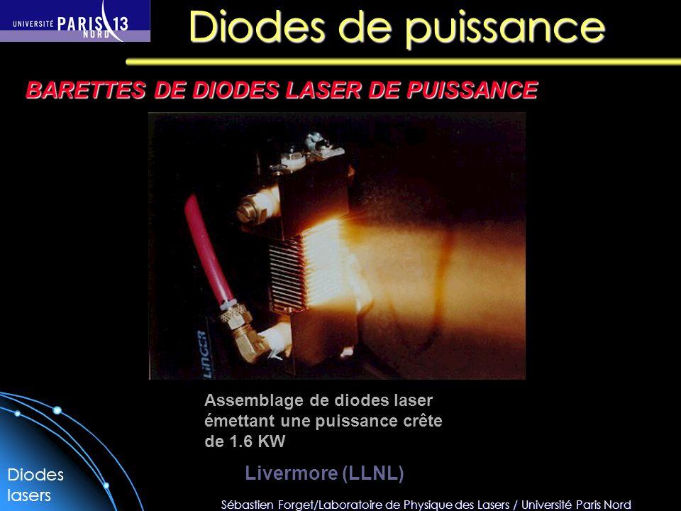 Sébastien Forget/Laboratoire de Physique des Lasers / Université Paris Nord Diodes de puissance BARETTES DE DIODES LASER DE PUISSANCE Assemblage de diodes laser émettant une puissance crête de 1.6 KW Livermore (LLNL) Diodes lasers