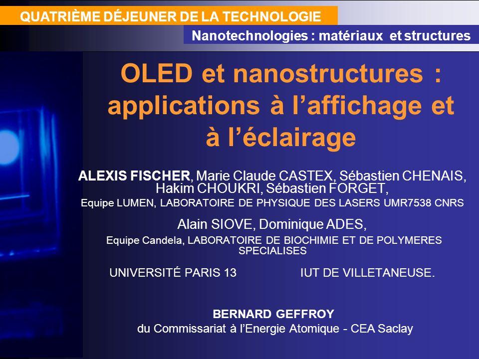 OLED et nanostructures : applications à laffichage et à léclairage QUATRIÈME DÉJEUNER DE LA TECHNOLOGIE Nanotechnologies : matériaux et structures ALE