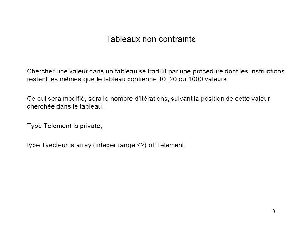 3 Tableaux non contraints Chercher une valeur dans un tableau se traduit par une procédure dont les instructions restent les mêmes que le tableau contienne 10, 20 ou 1000 valeurs.