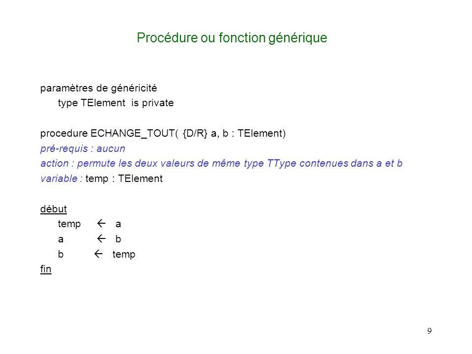 9 Procédure ou fonction générique paramètres de généricité type TElement is private procedure ECHANGE_TOUT( {D/R} a, b : TElement) pré-requis : aucun action : permute les deux valeurs de même type TType contenues dans a et b variable : temp : TElement début temp a a b b temp fin