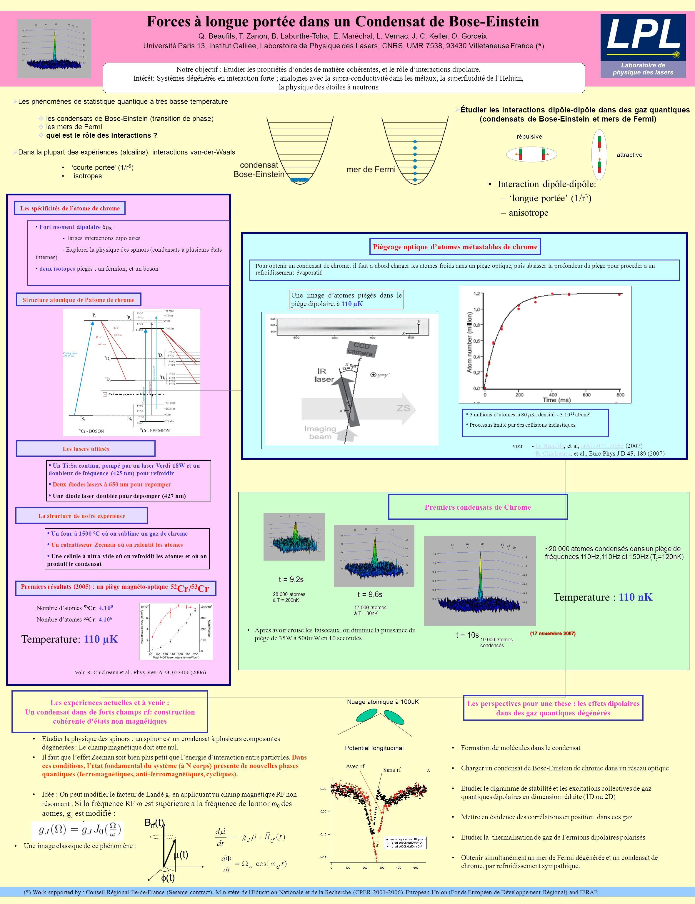 Forces à longue portée dans un Condensat de Bose-Einstein Q.