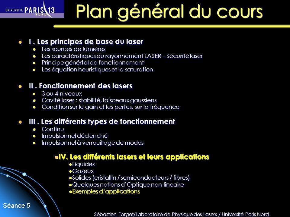 Sébastien Forget/Laboratoire de Physique des Lasers / Université Paris Nord Séance 5 Plan général du cours I. Les principes de base du laser I. Les pr