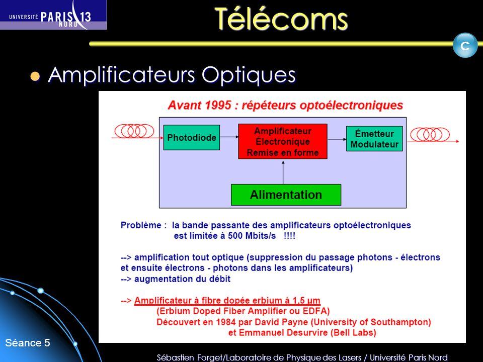 Sébastien Forget/Laboratoire de Physique des Lasers / Université Paris Nord Séance 5 Télécoms Amplificateurs Optiques Amplificateurs Optiques C