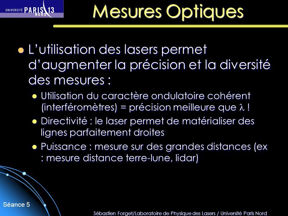 Sébastien Forget/Laboratoire de Physique des Lasers / Université Paris Nord Séance 5 Lutilisation des lasers permet daugmenter la précision et la dive