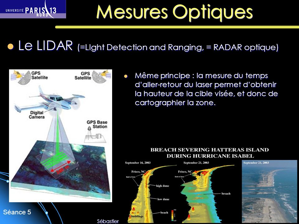 Sébastien Forget/Laboratoire de Physique des Lasers / Université Paris Nord Séance 5 Mesures Optiques Le LIDAR (=LIght Detection and Ranging, = RADAR