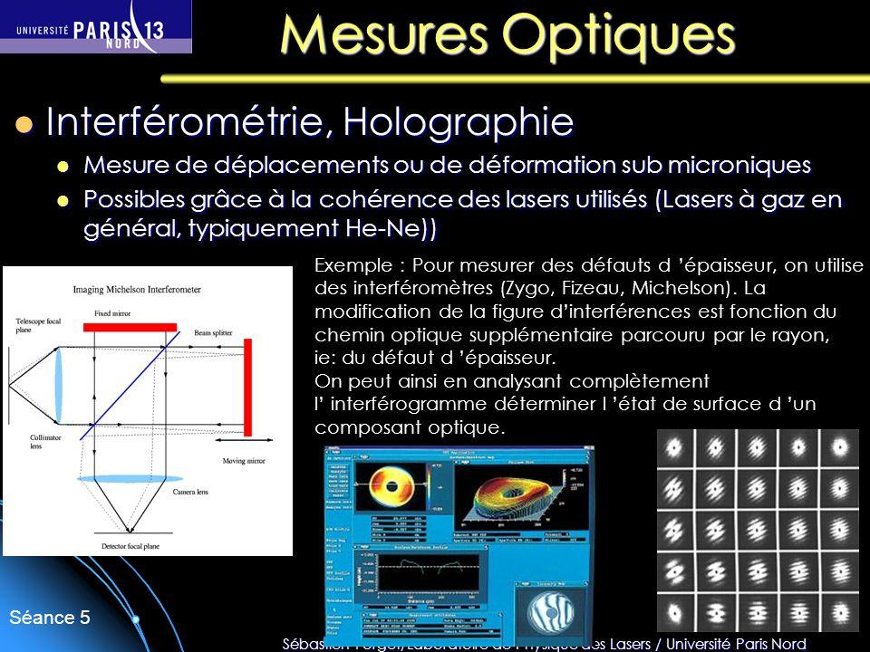 Sébastien Forget/Laboratoire de Physique des Lasers / Université Paris Nord Séance 5 Mesures Optiques Interférométrie, Holographie Interférométrie, Ho