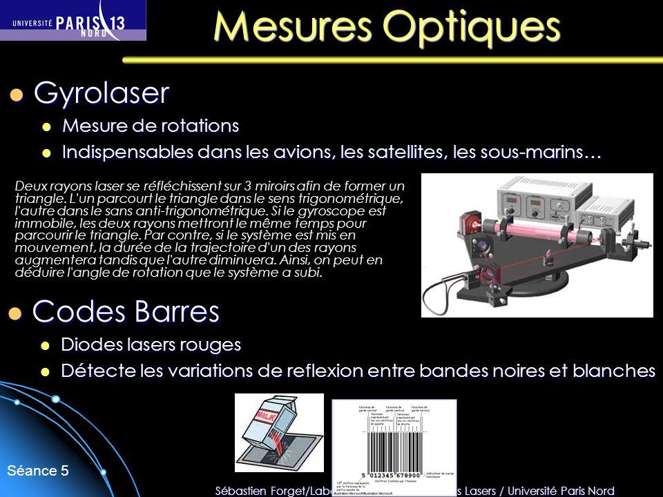 Sébastien Forget/Laboratoire de Physique des Lasers / Université Paris Nord Séance 5 Mesures Optiques Deux rayons laser se réfléchissent sur 3 miroirs