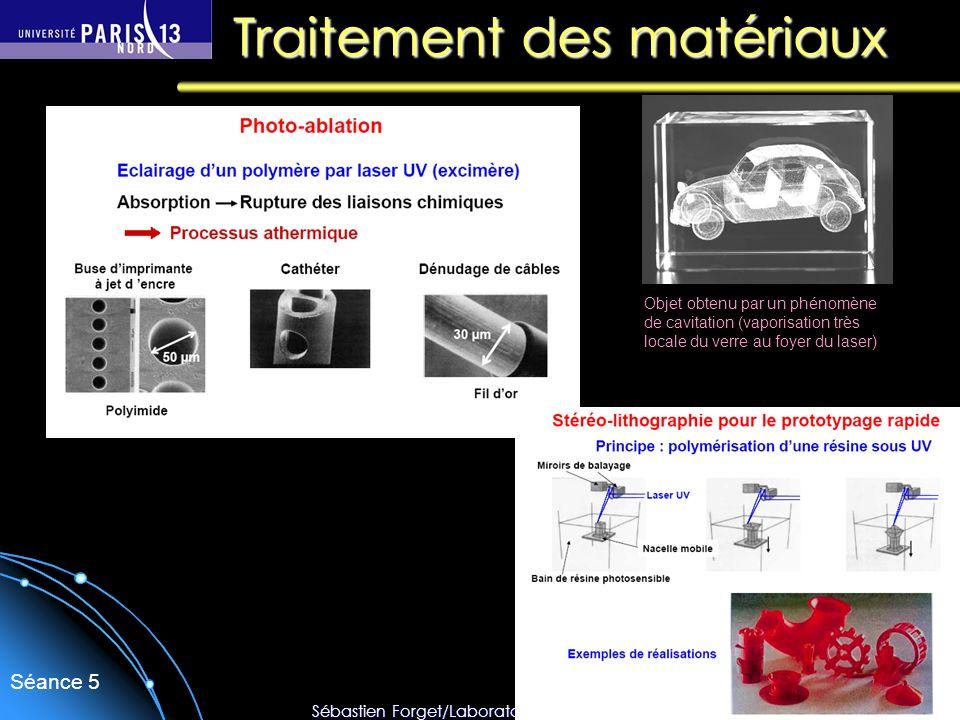 Sébastien Forget/Laboratoire de Physique des Lasers / Université Paris Nord Séance 5 Traitement des matériaux Objet obtenu par un phénomène de cavitat