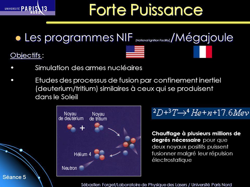 Sébastien Forget/Laboratoire de Physique des Lasers / Université Paris Nord Séance 5 Forte Puissance Les programmes NIF (National Ignition Facility )
