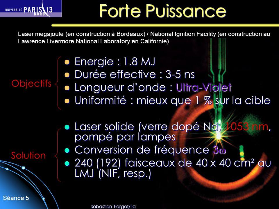 Sébastien Forget/Laboratoire de Physique des Lasers / Université Paris Nord Séance 5 Forte Puissance Energie : 1.8 MJ Energie : 1.8 MJ Durée effective