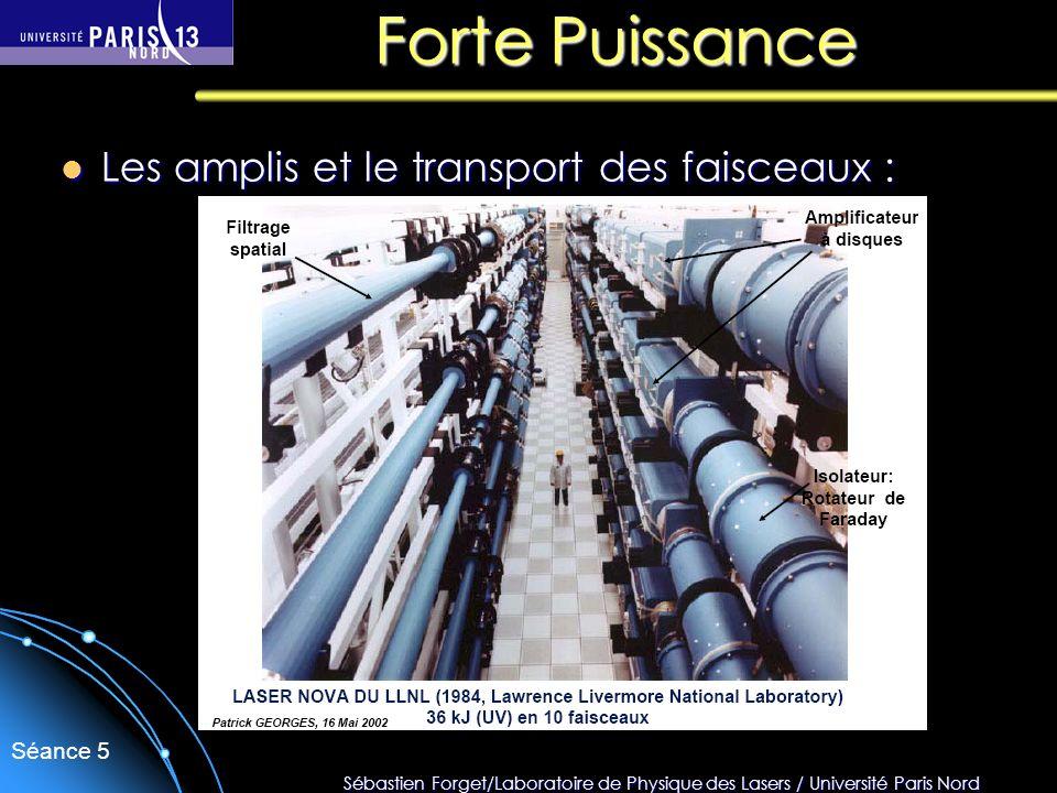 Sébastien Forget/Laboratoire de Physique des Lasers / Université Paris Nord Séance 5 Forte Puissance Les amplis et le transport des faisceaux : Les am