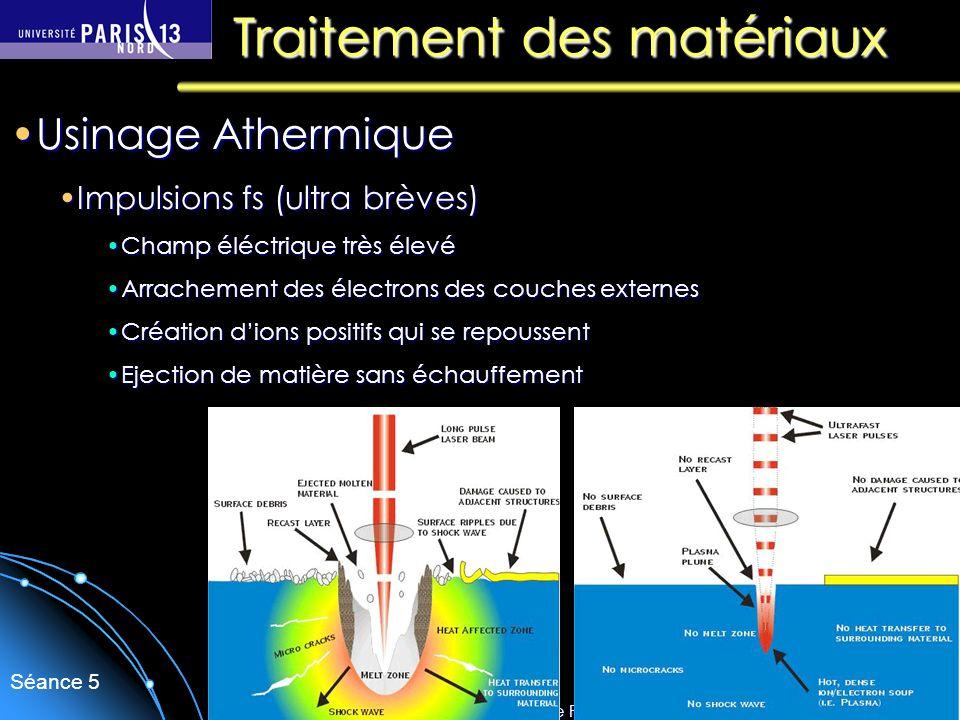 Sébastien Forget/Laboratoire de Physique des Lasers / Université Paris Nord Séance 5 Traitement des matériaux Usinage AthermiqueUsinage Athermique Imp