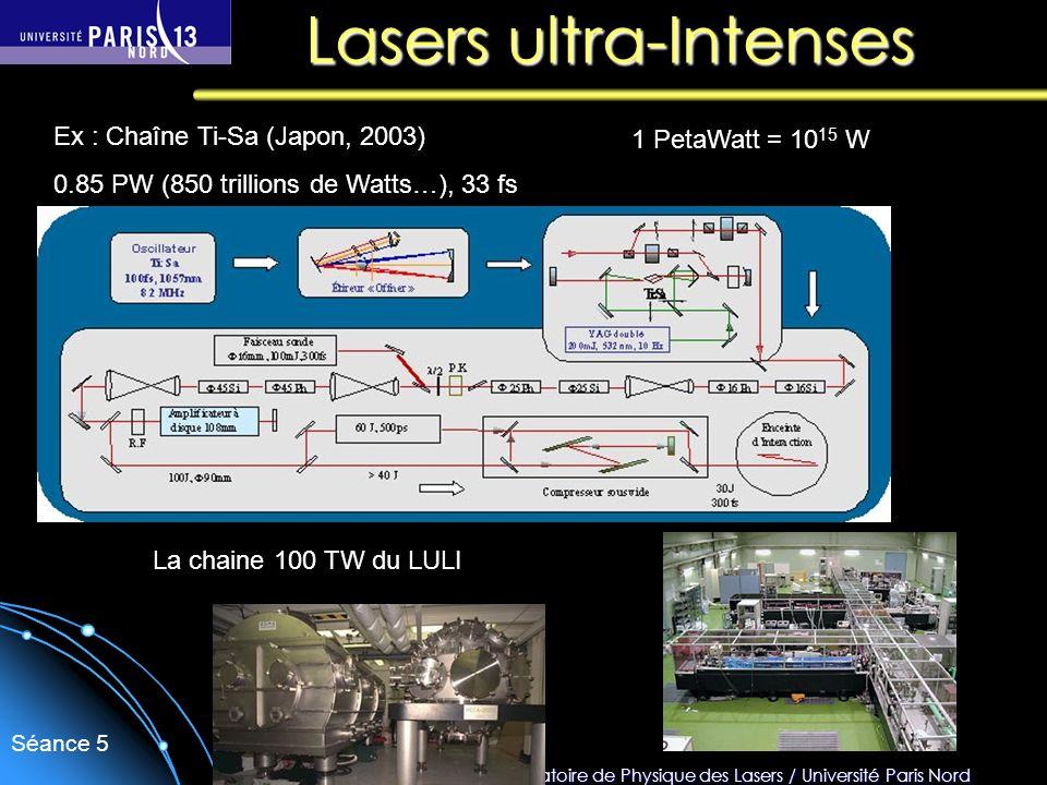 Sébastien Forget/Laboratoire de Physique des Lasers / Université Paris Nord Séance 5 Lasers ultra-Intenses Ex : Chaîne Ti-Sa (Japon, 2003) 0.85 PW (85