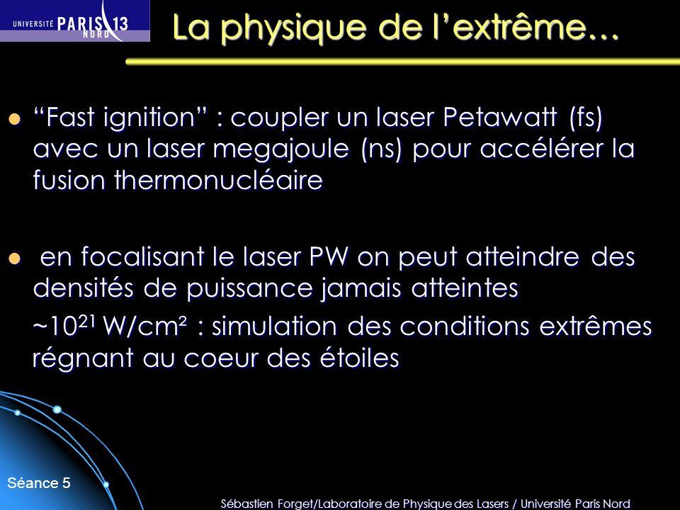 Sébastien Forget/Laboratoire de Physique des Lasers / Université Paris Nord Séance 5 La physique de lextrême… Fast ignition : coupler un laser Petawat