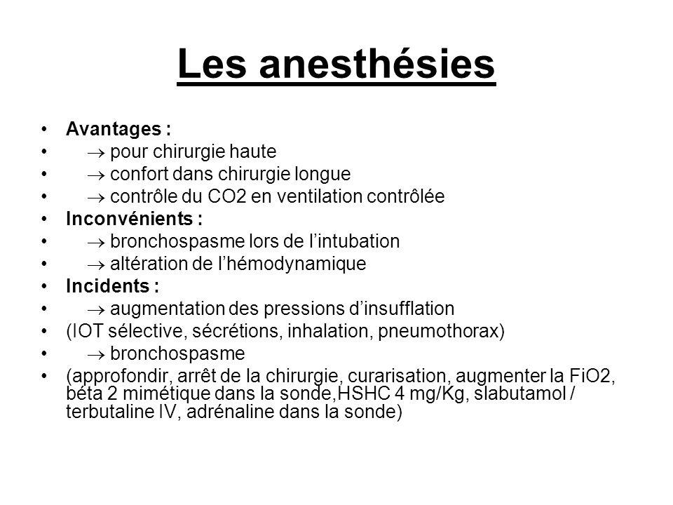 Les anesthésies Avantages : pour chirurgie haute confort dans chirurgie longue contrôle du CO2 en ventilation contrôlée Inconvénients : bronchospasme