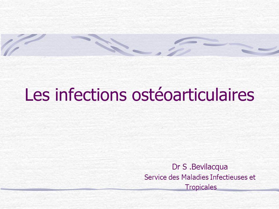 OSTEITE Ostéite chronique (> 3 mois) : Attachement des bactéries à un support inerte (prothèse, séquestres) TTT médical ET chirurgical Ostéite aiguë : ATB suffisent le plus souvent
