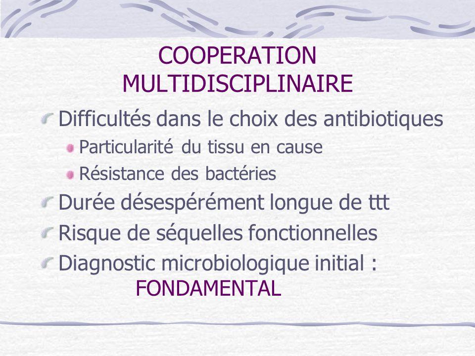 COOPERATION MULTIDISCIPLINAIRE Difficultés dans le choix des antibiotiques Particularité du tissu en cause Résistance des bactéries Durée désespérémen