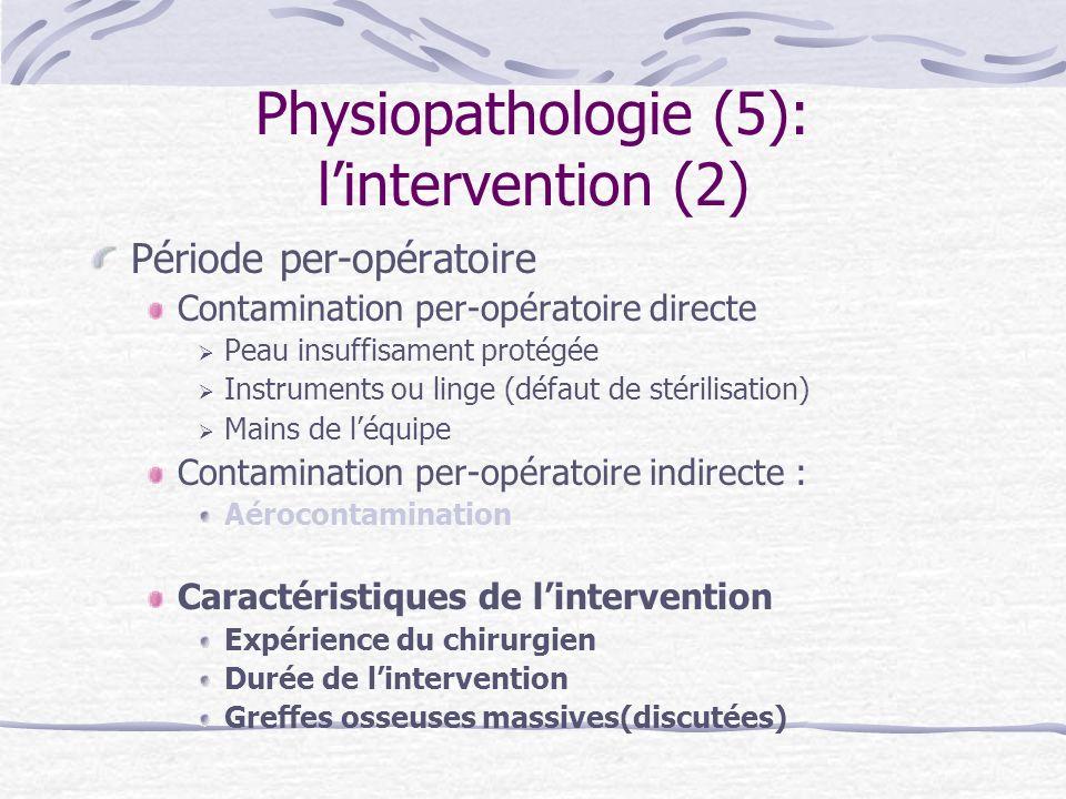 Physiopathologie (5): lintervention (2) Période per-opératoire Contamination per-opératoire directe Peau insuffisament protégée Instruments ou linge (