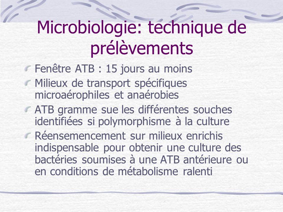 Microbiologie: technique de prélèvements Fenêtre ATB : 15 jours au moins Milieux de transport spécifiques microaérophiles et anaérobies ATB gramme sue