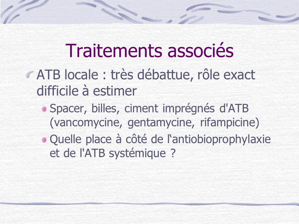 Traitements associés ATB locale : très débattue, rôle exact difficile à estimer Spacer, billes, ciment imprégnés d'ATB (vancomycine, gentamycine, rifa