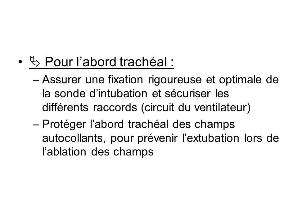 Pour labord trachéal : –Assurer une fixation rigoureuse et optimale de la sonde dintubation et sécuriser les différents raccords (circuit du ventilate